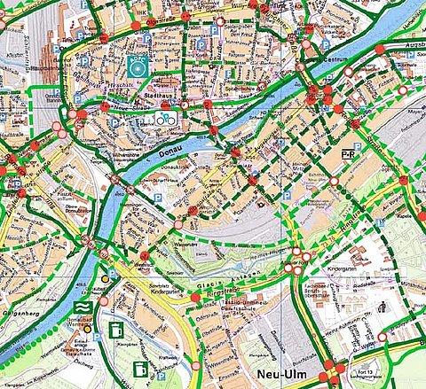 Donauradweg Ulm Passau Karte.Radwege Netz Stadt Neu Ulm
